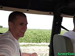 Muscular soldier analfucked ontop army truck
