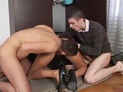 Blonde babe eaten out with studs fucking in bi threesome