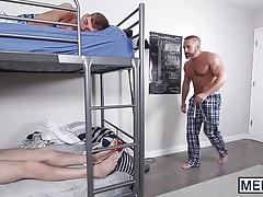 Horny stepdad drills his naughty stepson