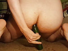 Playing with cucumber in my anal
