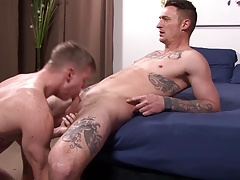 Tattooed Army Bros Bareback Fuck and Suck Cock