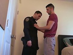 Hairy police officer fucks another's asshole