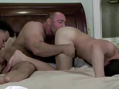 Hairy Bear in Threesome with 2 young Guys