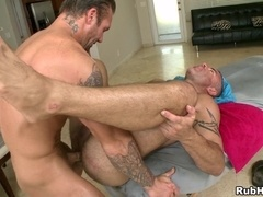 Tattooed gays Trace Michaels and Bo Dean fuck after ardent massage
