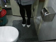 White Patent Pumps with Black Pantyhose Teaser 25
