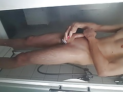 Shaving, jerking my young big cock ass spread boy