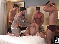 Group of hot muscle dudes plow hard tied up guys asshole