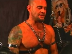 Tattooed gay toys his BF's ass and fucks is hard in BDSM scene