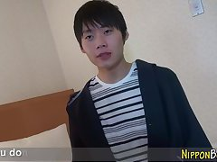 Horny asian twink tugs