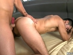 Two muscular handsome queers have ardent banging in a car