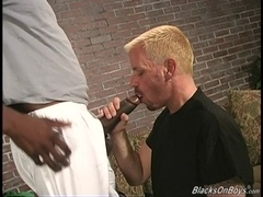 Fat blonde gay Keimo jumps on a BBC after sucking it greedily