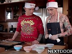 Inked twink gets his ass barebacked after making cookies