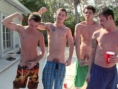 Four nasty poofters have ardent group sex on the poolside