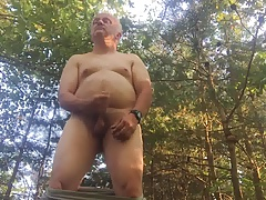 me naked and jo in woods in neighborhood