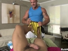 Trace Michaels massages Dante Escobar's body and lets him fuck his butt