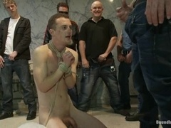 Skinny twink Holden Phillips gets tortured and fucked in public WC