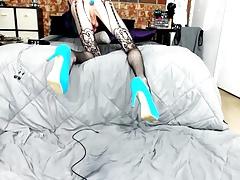 Skinny Femoy masturbing cock on cam