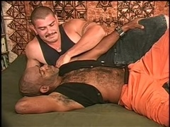 Black gay bear and his buddy enjoy fucking each other's butts indoors
