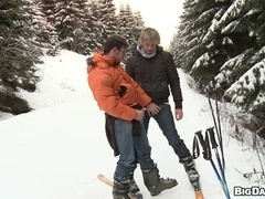 Hot homos Marek and Martty go skiing and enjoy fucking in the forest