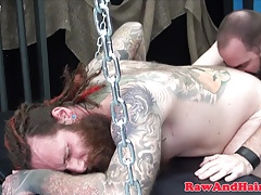 Beard inked bear assfucked raw in threeway