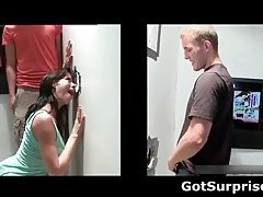 Dude gets blowjob through glory hole by horny gay guy