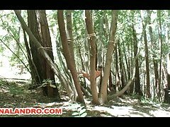 Tied Guy Ass and Dick Violated Outdoor in the Deep Woods