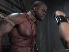 Muscular black slave fucks his lord in amazing BDSM video