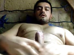 Beefy latin bear with fat dick shooting again