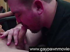 Naked straight gets gay blowjob for cash on camera