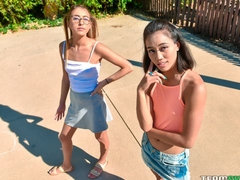 Two young angels Raquel Diamond and Aria Skye share a big dick