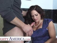 Mom Holly Heart gets her pipes filled by the plumber - big ass & big fake tits