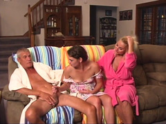 Busty female and husband teach stepdaughter sex