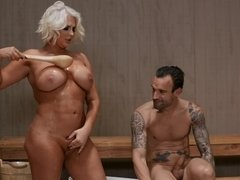 Busty blonde Kristina Shannon has sex in the sauna and gets cum on her face