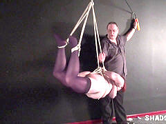 Suspension bondage and injection needle bdsm of gigantic slave girl in strict stringing up rope
