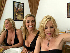 three ash-blonde milfs molest then fuck their waiter