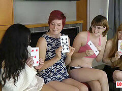 four Nerdy women Expose their wild Side during a Game of Highest Card Wins