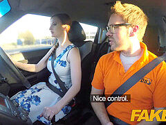 faux Driving School pink nipples big tits redhead ultra-kinky girl gets a facial cumshot