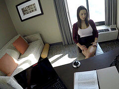 Spy point of view - nailing coed with fat swingers