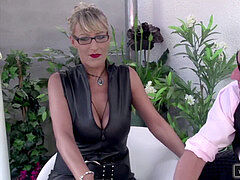 blond German cougar Fucks a guy with her Nylons