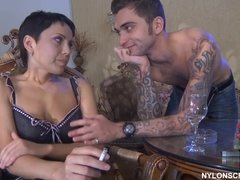 Short haired nympho gets pounded by a tattoed hunk