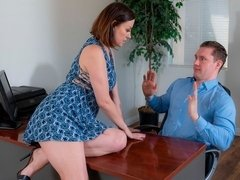 Sexy MILF secretary Sovereign Syre pleases her young boss in the office