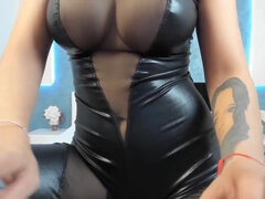 Asian Delight - Fake Asian tits in latex corset on webcam