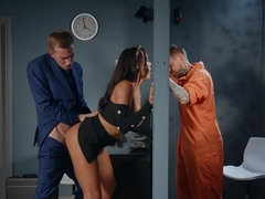 Hot babe is banging a cop in jail visiting room while inmate is watching