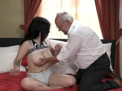 Grey-haired old man has wonderful sex with petite brunette