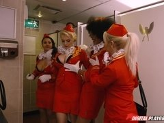 Hot stewardess Luna Corazon sucks passenger's big dick in the bathroom