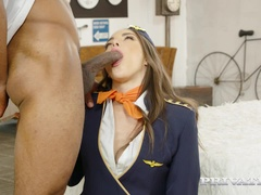 Stewardess Anastasia Brokelyn Pleases the Pilot