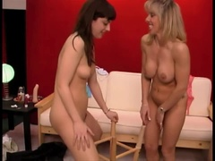 Mature Lesbian Threesome with 2 Cute Young'uns. We even fuck a chair!