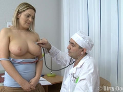 Dirty gyno doctor fucks his chubby patient after pussy check up