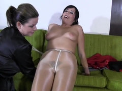 Hot milf in pantyhose bondage lesdom