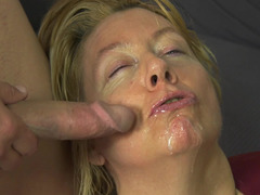 Facial for a granny slut with big natural titties